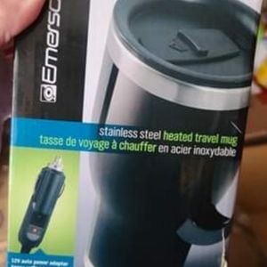 EMERSON STAINLESS STEEL HEATED TRAVEL MUG